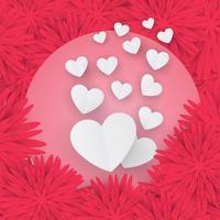 cartão de dia dos namorados com corações de papel em fundo floral