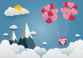 Valentine's Paper Heart Balloons in Mountain Scene