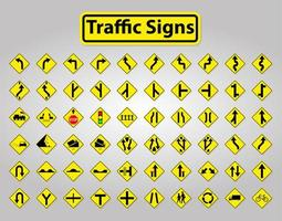 Yellow and Black Traffic Signs Set vector
