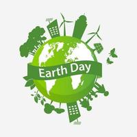 Earth Day Globe with Eco-Friendly City and Family vector