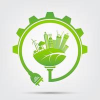 folha de poupança de energia com vista da cidade dentro da engrenagem verde