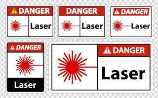 conjunto de signos láser de peligro