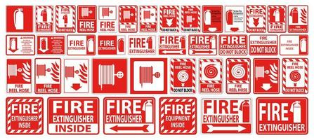 Fire Hose and Extinguisher Sign or Label Set vector
