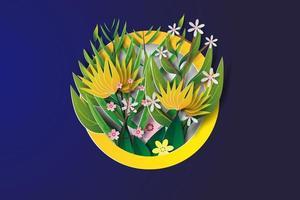 arte de papel de collage de flores en círculo vector
