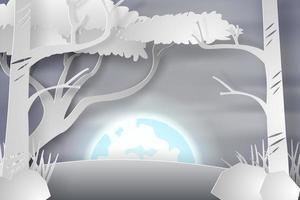 árboles de papel de arte en la nieve con luna llena vector