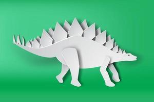 Paper Art Stegosaurus Dinosaur  vector