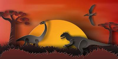 Dinosaur Night Landscape  vector