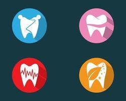 Teeth in coloful circles logo set