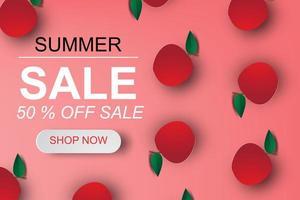 Paper Art Apples on Summer Sale Poster vector