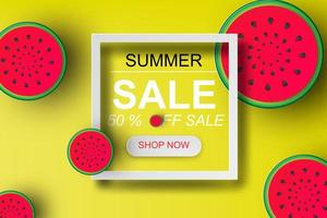 cartel de venta de verano de papel arte 3d con sandía vector