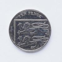 moneda de 10 peniques del Reino Unido