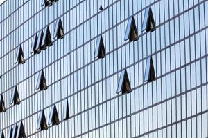 glass facade with opened windows
