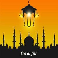 Eid Al-Fitr with Black Mosque Silhouette vector