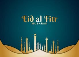 Eid al Fitr with Gold Mosque Towers on Teal vector
