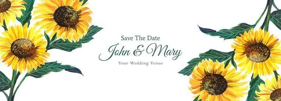 Decorative sunflower wedding save the date banner  vector