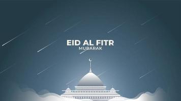 Eid Al-Fitr with White Mist and Shooting Stars vector