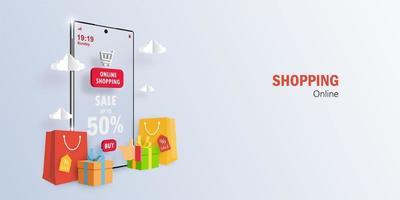 conceito de marketing digital, compras on-line no aplicativo móvel