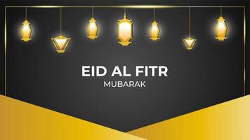 Eid Mubarak Hanging Lanterns Gold Lanterns Background