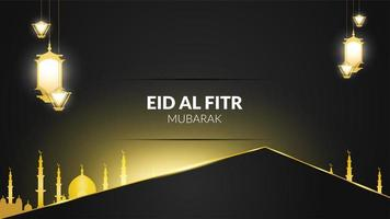 Eid Al-Fitr Black and Gold Lanterns vector