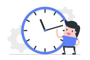 Time Management with Male and Clock vector