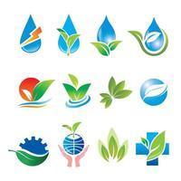 conjunto de logo de agua y hoja natural vector
