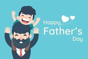 felice festa del papà con ragazzo sulle spalle di papà