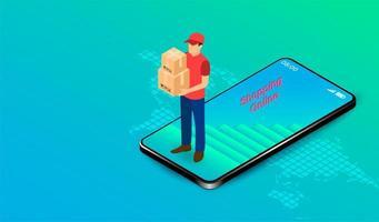 repartidor con cajas saliendo del móvil