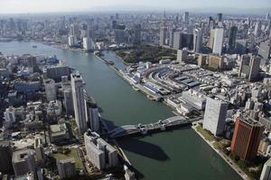 vista aérea de las zonas de kachidoki foto