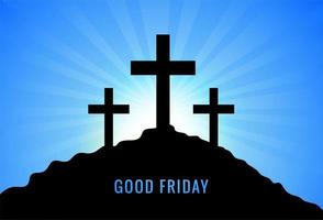 saludo para el viernes santo con tres cruces al atardecer de fondo vector