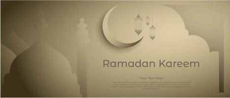 Ramadan kareem background with mosque lantern and beautiful moon