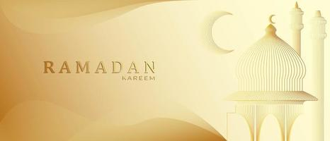 Golden Ramadan kareem background with space for banner design
