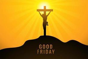 Jesucristo en la cruz contra el fondo amarillo del atardecer vector
