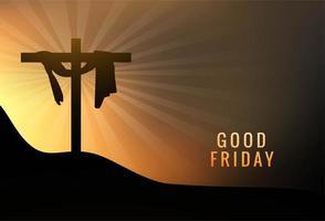 Viernes Santo Jesús en la cruz en el fondo del atardecer vector