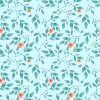 Pastel Blue Seamless Pink Flower Pattern vector