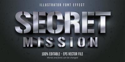 texto de misión secreta, efecto de fuente editable de estilo metálico plateado 3d