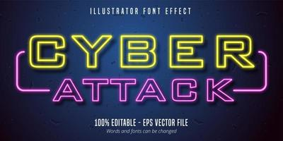 Cyber attack text, neon lights signage style editable font effect