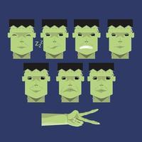 Set of Green Frankenstein Heads