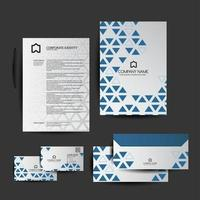 Set of Blue Geometric Triangle Business Stationery