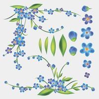 conjunto de flores azuis vetor