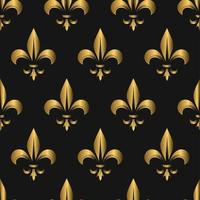 Seamless Golden Fleur De Lis Pattern on Black vector