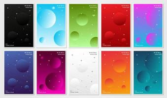 Colorful gradient floating circle cover set vector