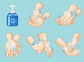 cartel paso a paso para lavarse las manos vector