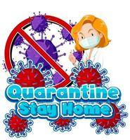 Quarantine stay home poster with female doctor