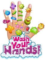 Wash hands poster with virus cells on human hand