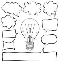 Speech bubbles set with lightbulb in middle vector