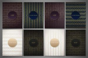 Luxury premium cover set with golden patterns vector
