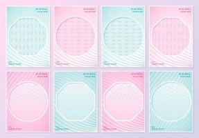 Pink and blue patterned posters with geometric cutouts