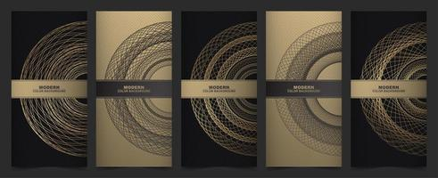 Vertical banners in gray and gold with circle design vector
