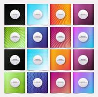 Set of square covers with gradient colors and patterns vector