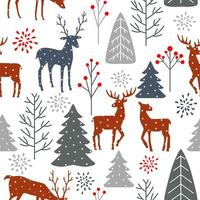 Seamless winter Christmas forest with deer pattern vector